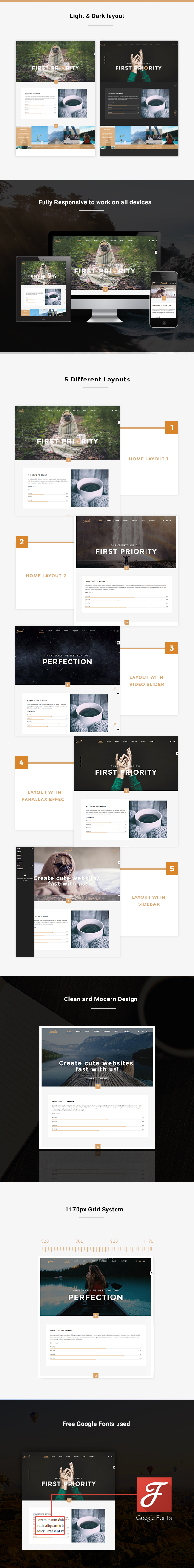 Swank - Creative One Page with Blog template - 1