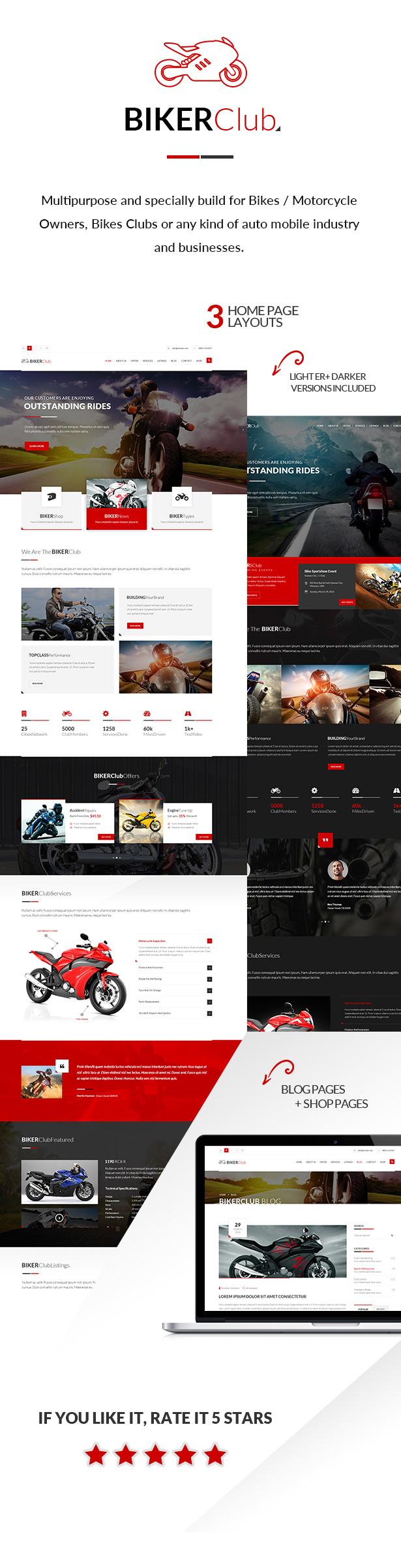 Biker Club - WordPress theme - 1
